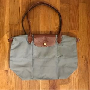 Small Longchamp Le Pliage in a light blue grey